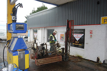 Investigative drilling at a petrol station site in St Ives, Cornwall.