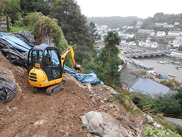 Making access for a slope stability investigation in Looe, Cornwall